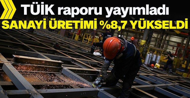 Sanayi üretim endeksi yüzde 8,7'lik artış gösterdi