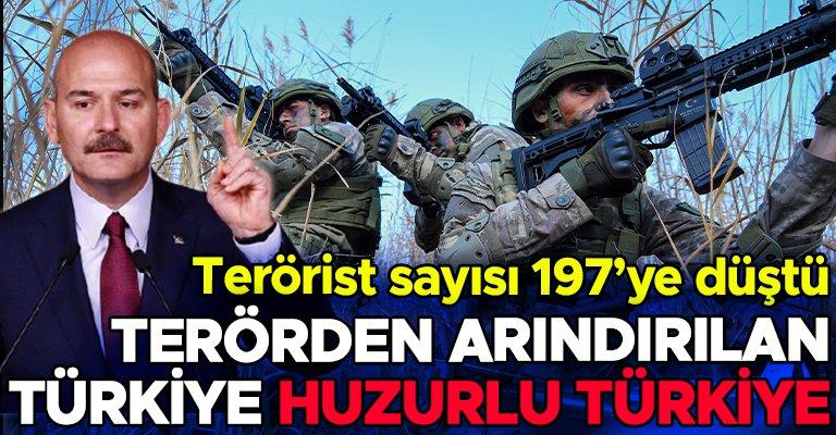 Bakan Soylu: Türkiye'deki terörist sayısı 197'ye düştü