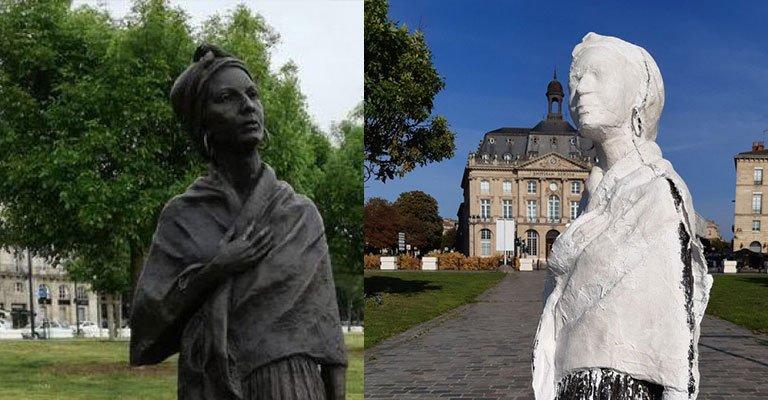 Irkçı Fransızlar iş başında! Siyahi kadın heykelini beyaza boyadılar